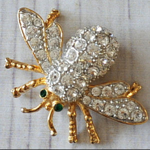 gold rhinestone bee fly bug insect pin brooch
